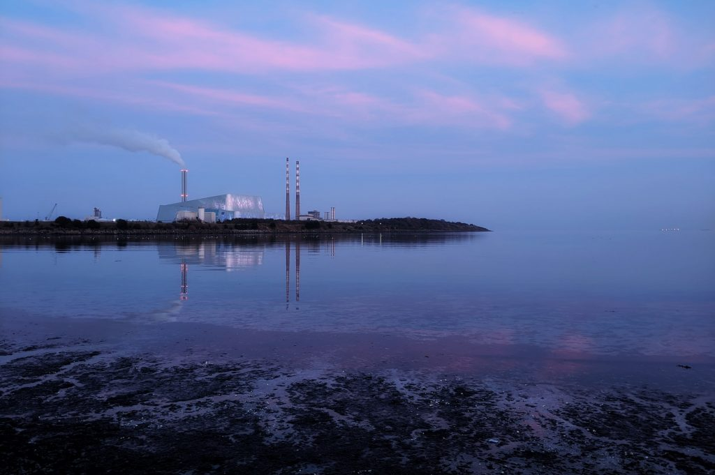 View of the Poolbeg Chimneys from Sandymount Strand